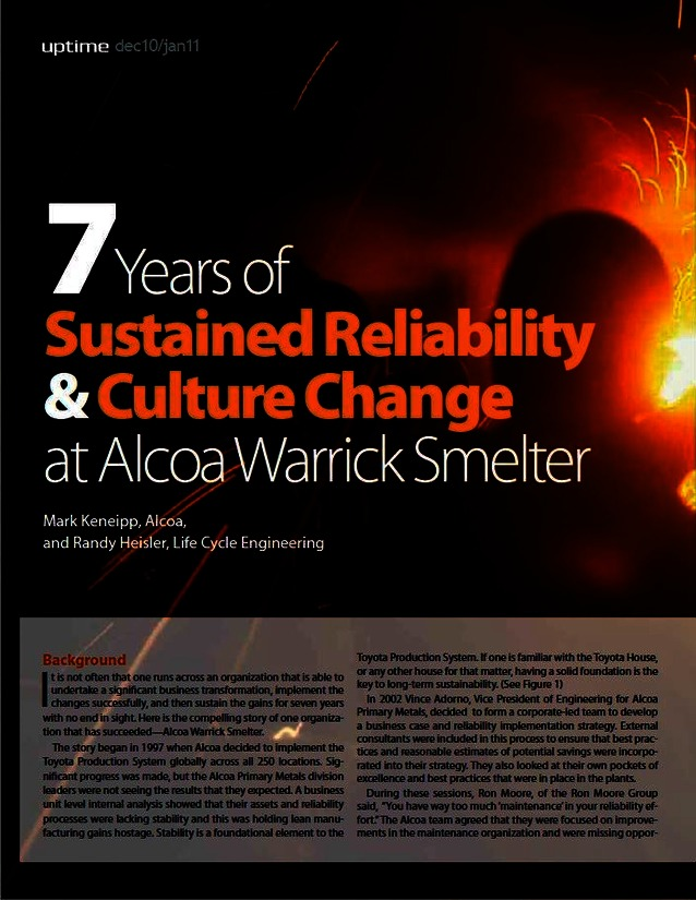 Seven Years of Sustained Reliability and Culture Change at Alcoa Warrick Smelter